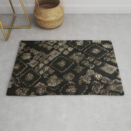 Handmade Black and Gold  Rug