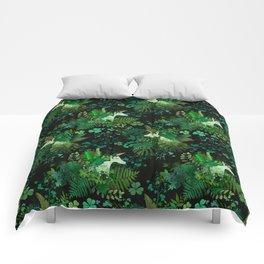 Irish Unicorn in a Garden of Green Comforters