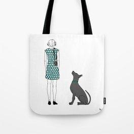 Photographer girl and dog Tote Bag
