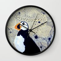 jake Wall Clocks featuring Jake Puffin by Jacinta Sue