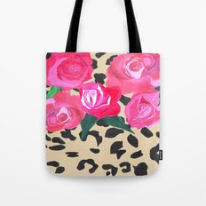 Roses and Leopard Print Tote Bag