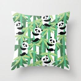 Panda's society Throw Pillow