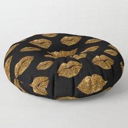 Gold Sparkle Kissing Lips Floor Pillow