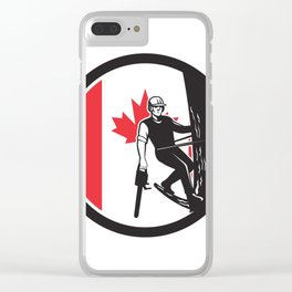 Canadian Tree Surgeon Canada Flag Icon Clear iPhone Case