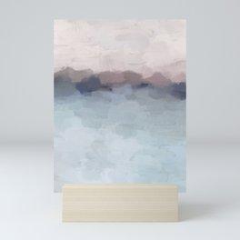 Blush Pink, Mauve Purple, Navy Light Blue, Abstract Painting, Modern Wall Art, Ocean Waves Horizon Mini Art Print