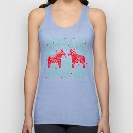 Swedish Dala Horses – Red & Mint Palette Unisex Tank Top