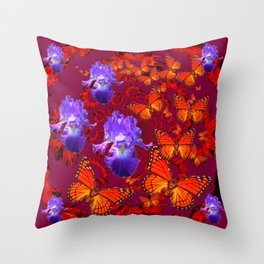 Lilac Iris  Monarch Butterflies Burgundy Color Throw Pillow