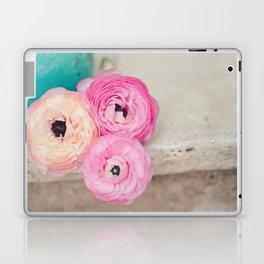Pink Ranunculus Bouquet mint green Laptop & iPad Skin