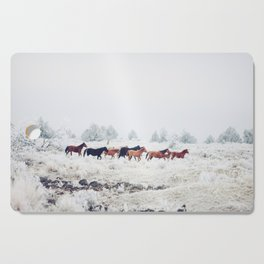 Winter Horse Herd Cutting Board