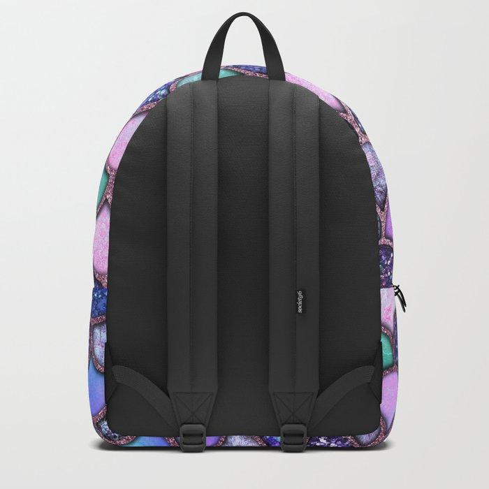 Colorful Pink & Purple Watercolor & Glitter Mermaid Scales Backpack