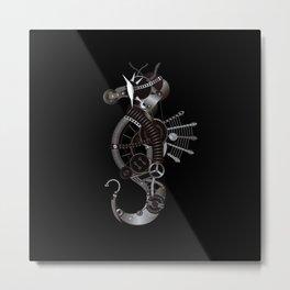 Steampunk Seahorse Illustration Metal Print