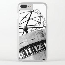 World Clock Berlin BW Clear iPhone Case
