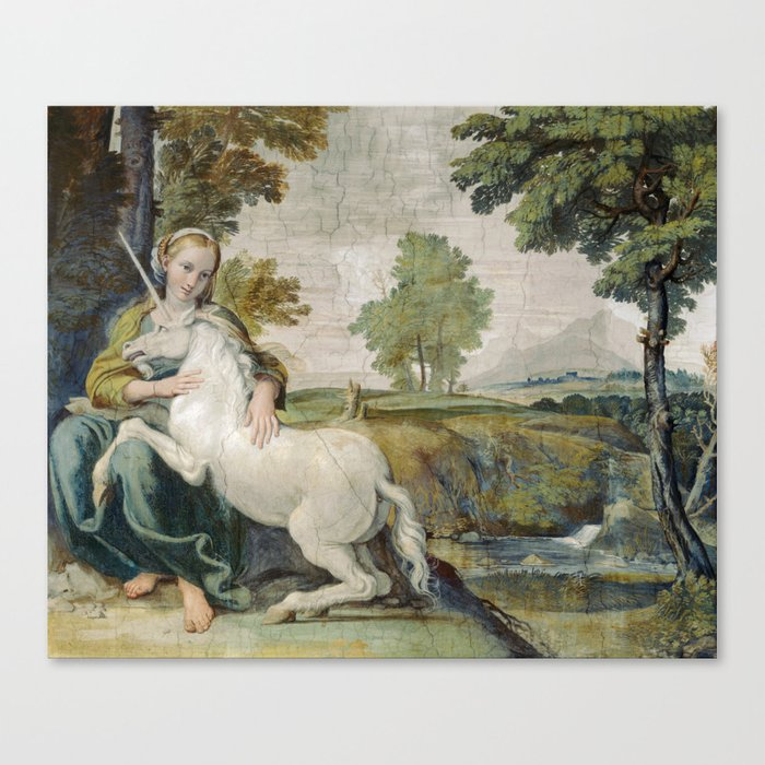 Vintage Unicorn Painting Canvas Print by fineearthprints | Society6