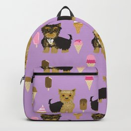 Yorkie ice cream gifts yorkshire terrier dog lover pet friendly patterns purple Backpack
