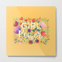 Girl Power - Sunny yellow Metal Print