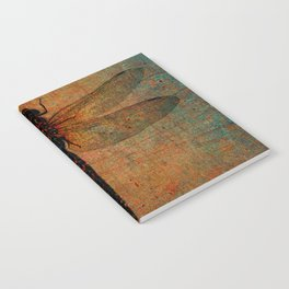 Dragonfly On Orange and Green Background Notebook