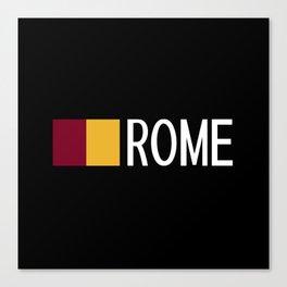 Italy: Roman Flag & Rome Canvas Print