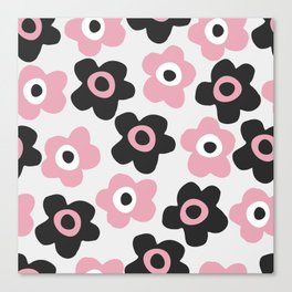 Black and pink flowers Canvas Print