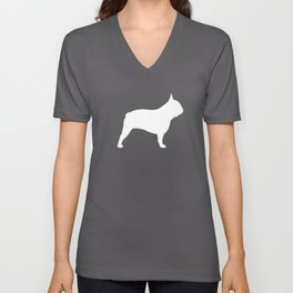 White French Bulldog Silhouette Unisex V-Neck