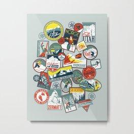 Retro Ski Badges Metal Print