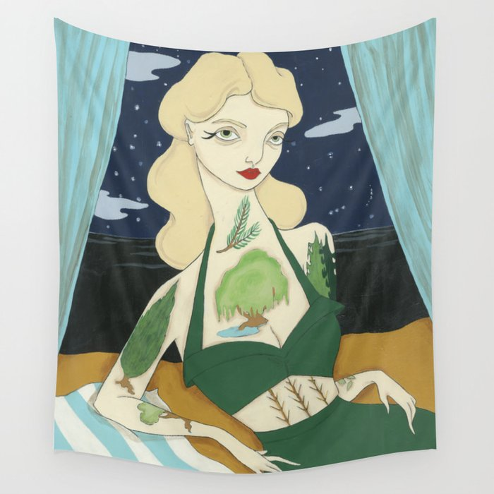Tattooed Lady with Trees Wall Tapestry