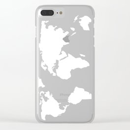 World Map White on Black Clear iPhone Case