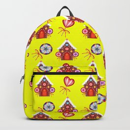gingerbread houses, colorful sweet lollipops. Retro vintage cozy snug homey Christmas pattern Backpack