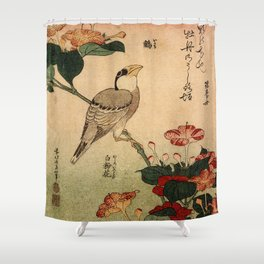 Hokusai,Hawfinch and mirabilis - manga, japan,hokusai,japanese,北斎,ミュージシャン Shower Curtain