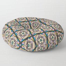 Vintage Star Motif Geometric Patchwork Quilt Mosaic Floor Pillow