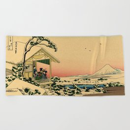 Japanese teahouse after the snow Beach Towel