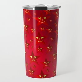 happy, smiling smileys on stars in rich red Travel Mug