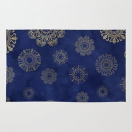 Let it snow, gold lace snowflakes in the night sky Rug