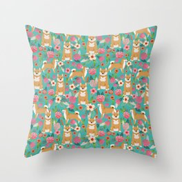 Shiba Inu floral dog breed pet art must have gifts pure bred shiba inus doggo Throw Pillow