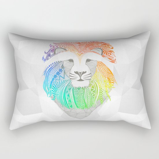 Colored Lion Rectangular Pillow
