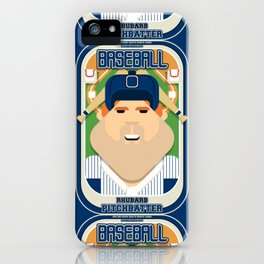 Baseball Blue Pinstripes - Rhubarb Pitchbatter - Josh version iPhone Case