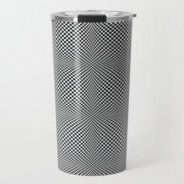 op art - black and white checks bulge Travel Mug