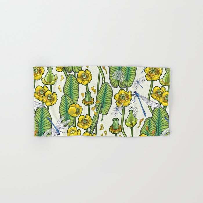 yellow water lilies and dragonflies Hand & Bath Towel