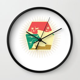 Cliff Jump Retro Island Palms Cliff Diving Gift Wall Clock