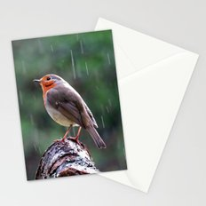 Robin in the rain Stationery Cards