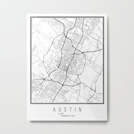 Austin Texas Street Map Metal Print