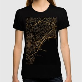 Black and gold Neapol map T-shirt