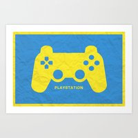 playstation Art Prints featuring Playstation (Control Series) by emlem