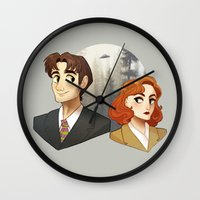 dana scully Wall Clocks featuring Mulder & Scully by Sutexii