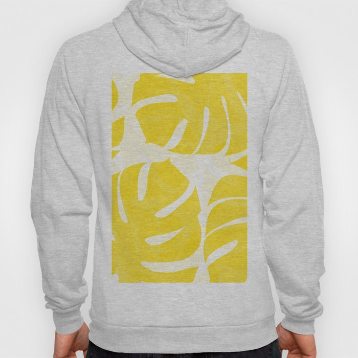 Mellow Yellow Monstera Leaves White Background #decor #society6 #buyart Hoody