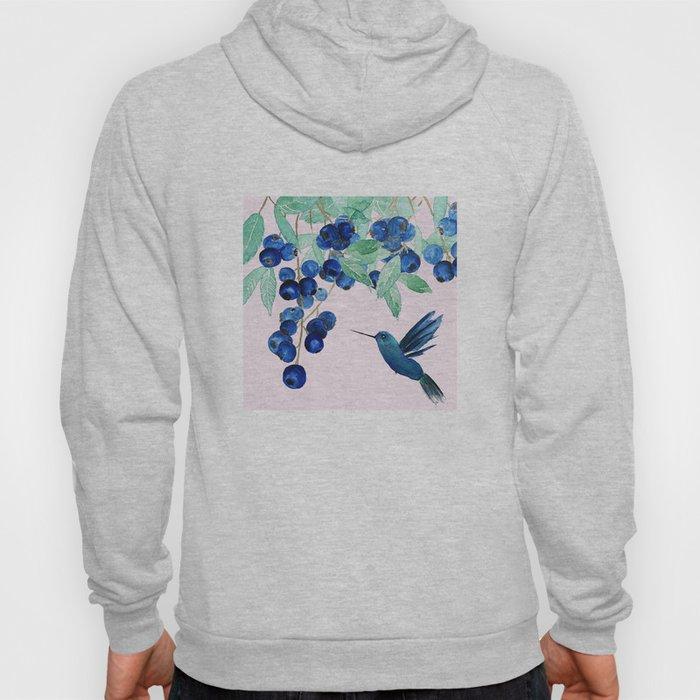 blueberry and humming bird Hoody