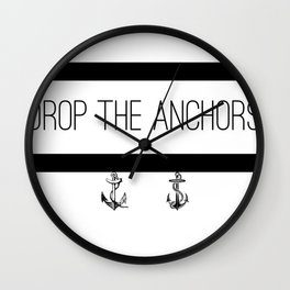 Drop The Anchors Stripes in Black Wall Clock