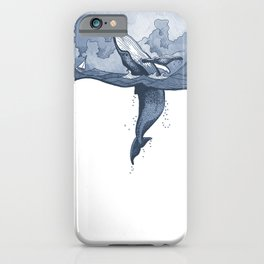 Hump Back Whale breaching in Stormy Seas with tiny boat - nautical themed illustration iPhone Case