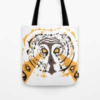 psych Tote Bags featuring Psych Owl by T Dupuis