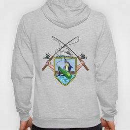 Fishing Rod Reel Blue Marlin Beer Bottle Coat of Arms Drawing Hoody