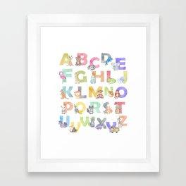 Watercolor Alphabet Animals Framed Art Print